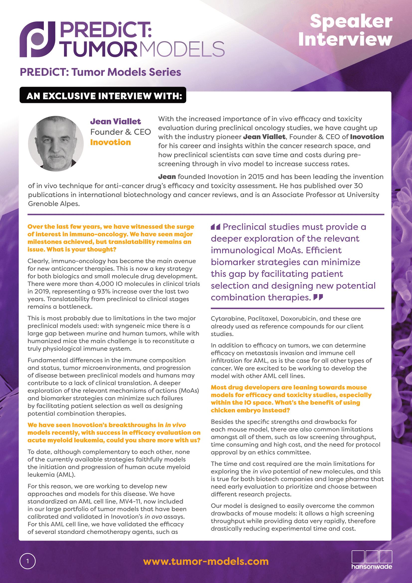 PREDiCT Tumor Models Series Inovotion Interview-1